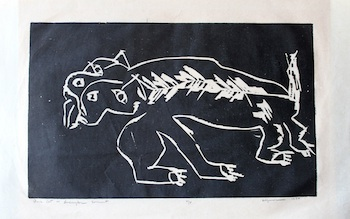 Black Cat Woodcut